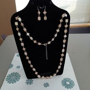 Jewelry - Rose gold color necklace and earrings